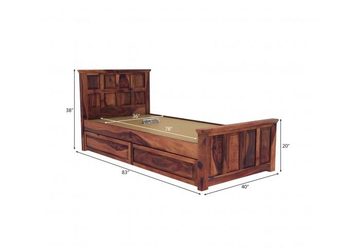 Thoms Single Bed With Storage ( Teak Finish )