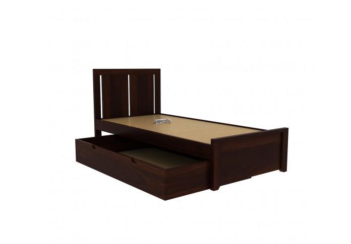 Topaz Single Bed With Storage <small>( Walnut Finish ) </small>
