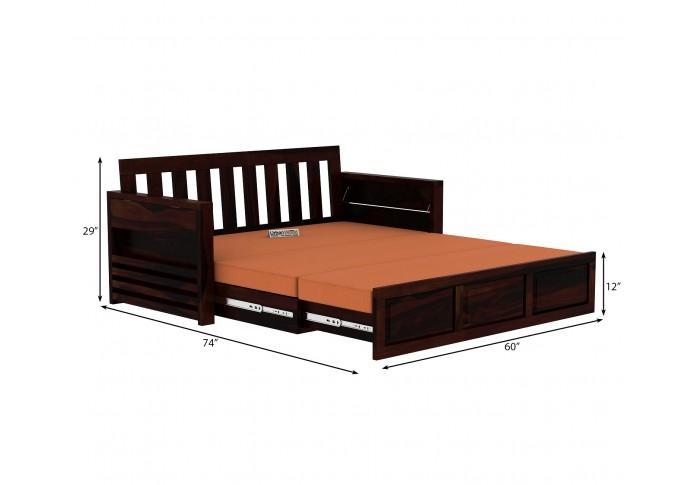 Aiden Sofa Cum Bed ( Walnut Finish )