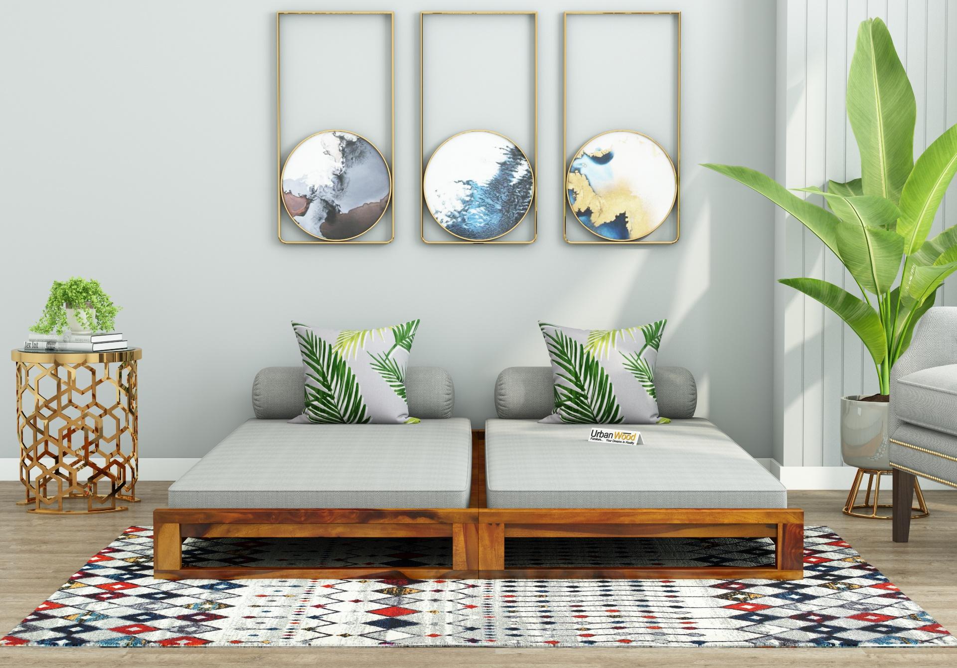 Aper Wooden Sofa Cum Bed <small>(Honey Finish)</small>