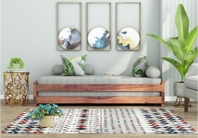 Aper Wooden Sofa Cum Bed (Teak Finish)