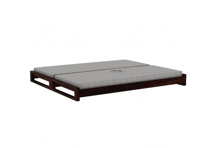 Aper Wooden Sofa Cum Bed (Walnut Finish)