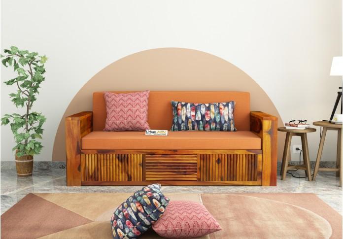 Aura Sofa Cum Bed ( Honey Finish )