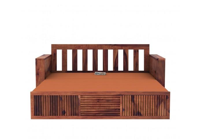 Aura Sofa Cum Bed ( Teak Finish )