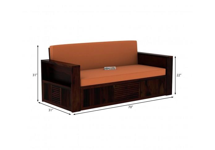 Aura Sofa Cum Bed ( Walnut Finish )