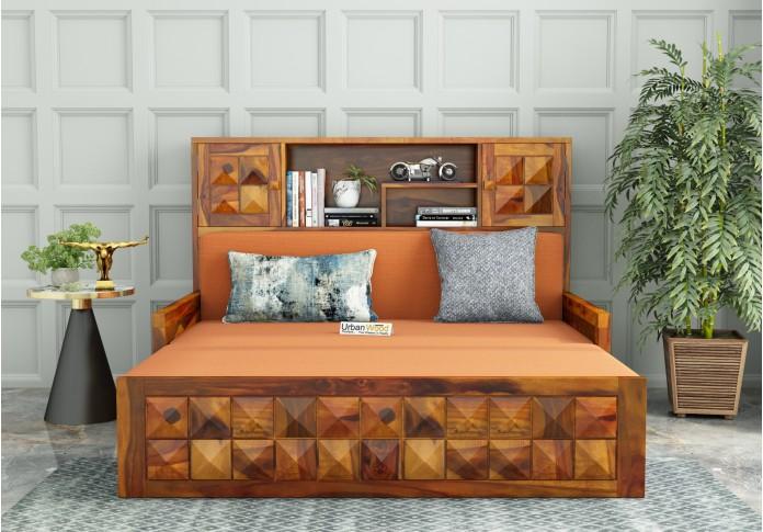 Morgana Sofa Cum Bed With Storage ( Honey Finish )