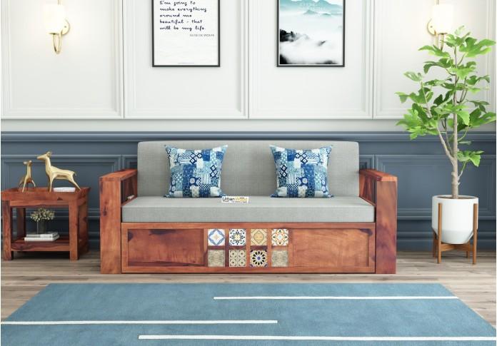 Relay Ceramic Tile Sofa Cum Bed ( Teak Finish )