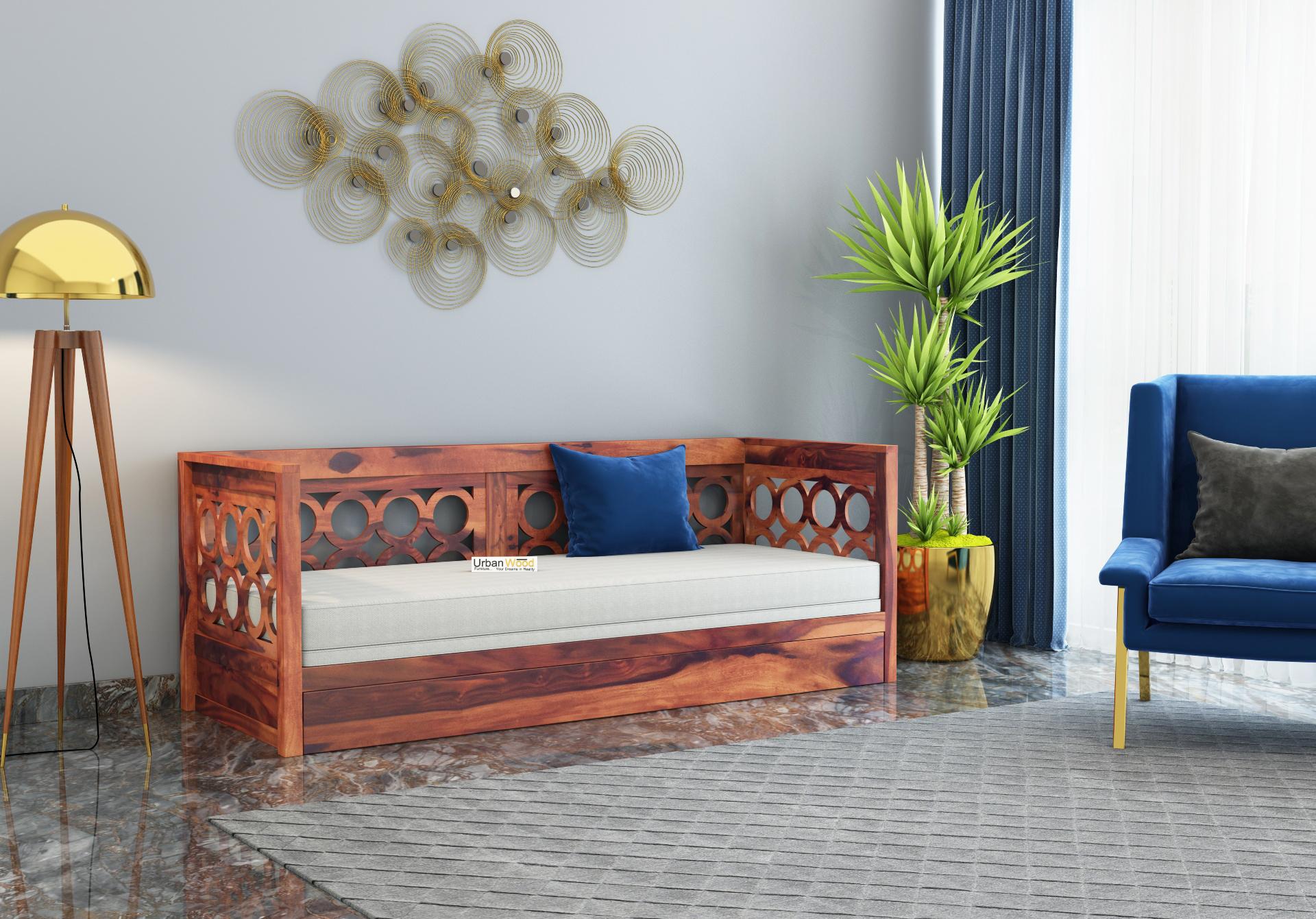 Sofasio Sofa Cum Bed <small>( Teak Finish )</small>
