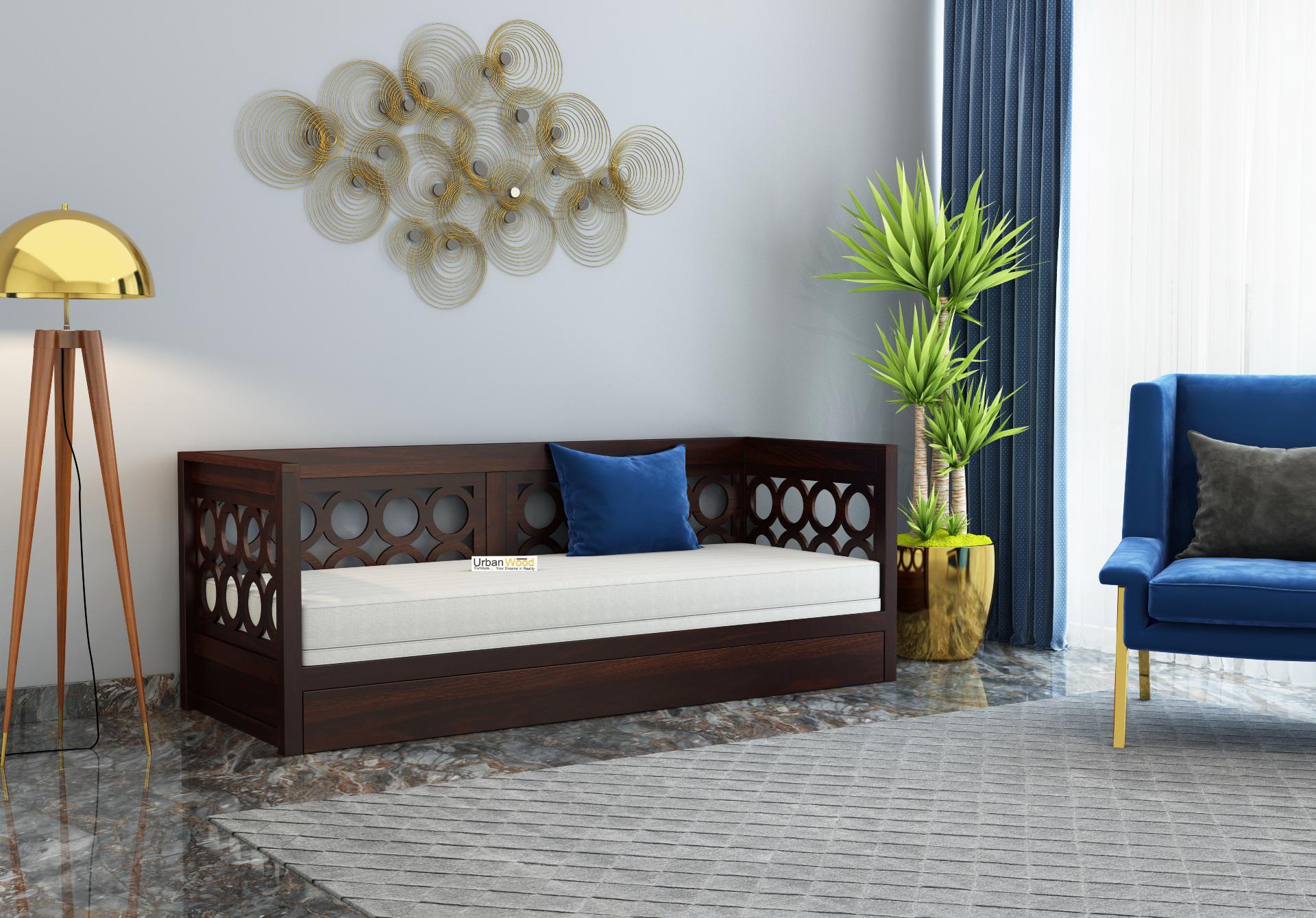 Sofasio Sofa Cum Bed <small>( Walnut Finish )</small>