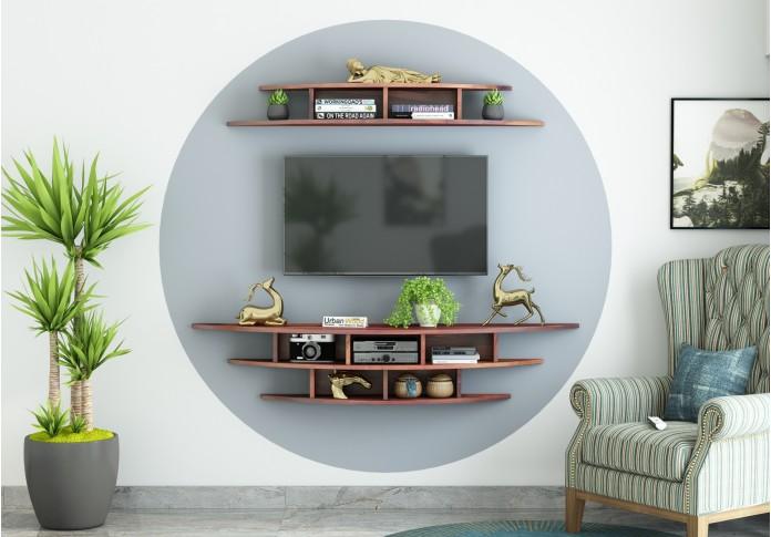 Parow Wooden Wall Mounted TV Unit (Teak Finish)