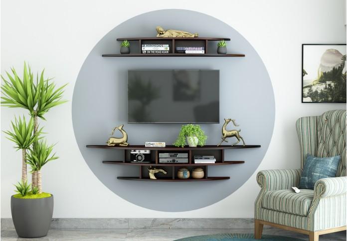 Parow Wooden Wall Mounted TV Unit (Walnut Finish)