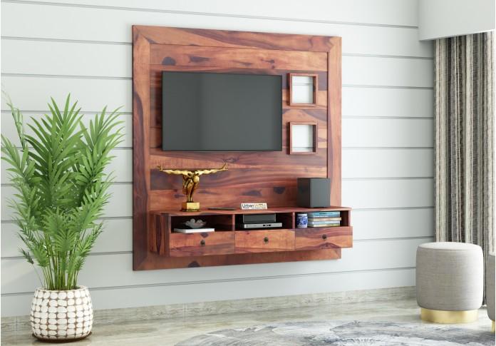 Noman Wooden Wall Mount TV Unit (Teak Finish)
