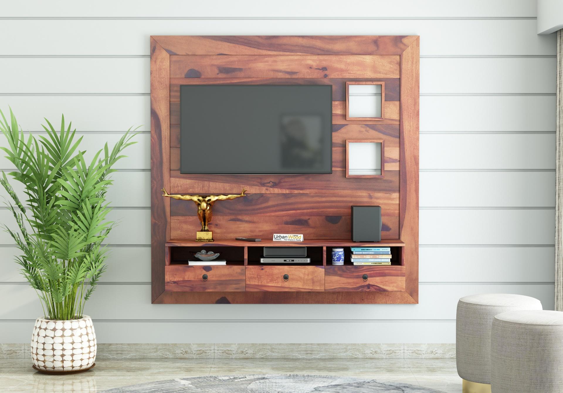 Noman Wooden Wall Mount TV Unit <small>(Teak Finish)</small>