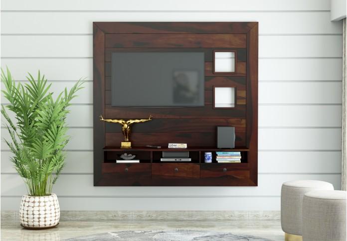 Noman Wooden Wall Mount TV Unit (Walnut Finish)