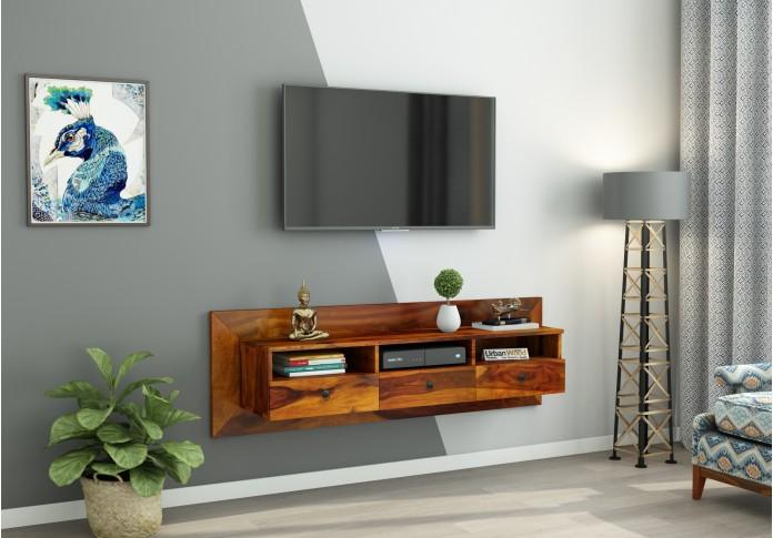 Graham Wooden Wall Mount TV Unit (Honey Finish)