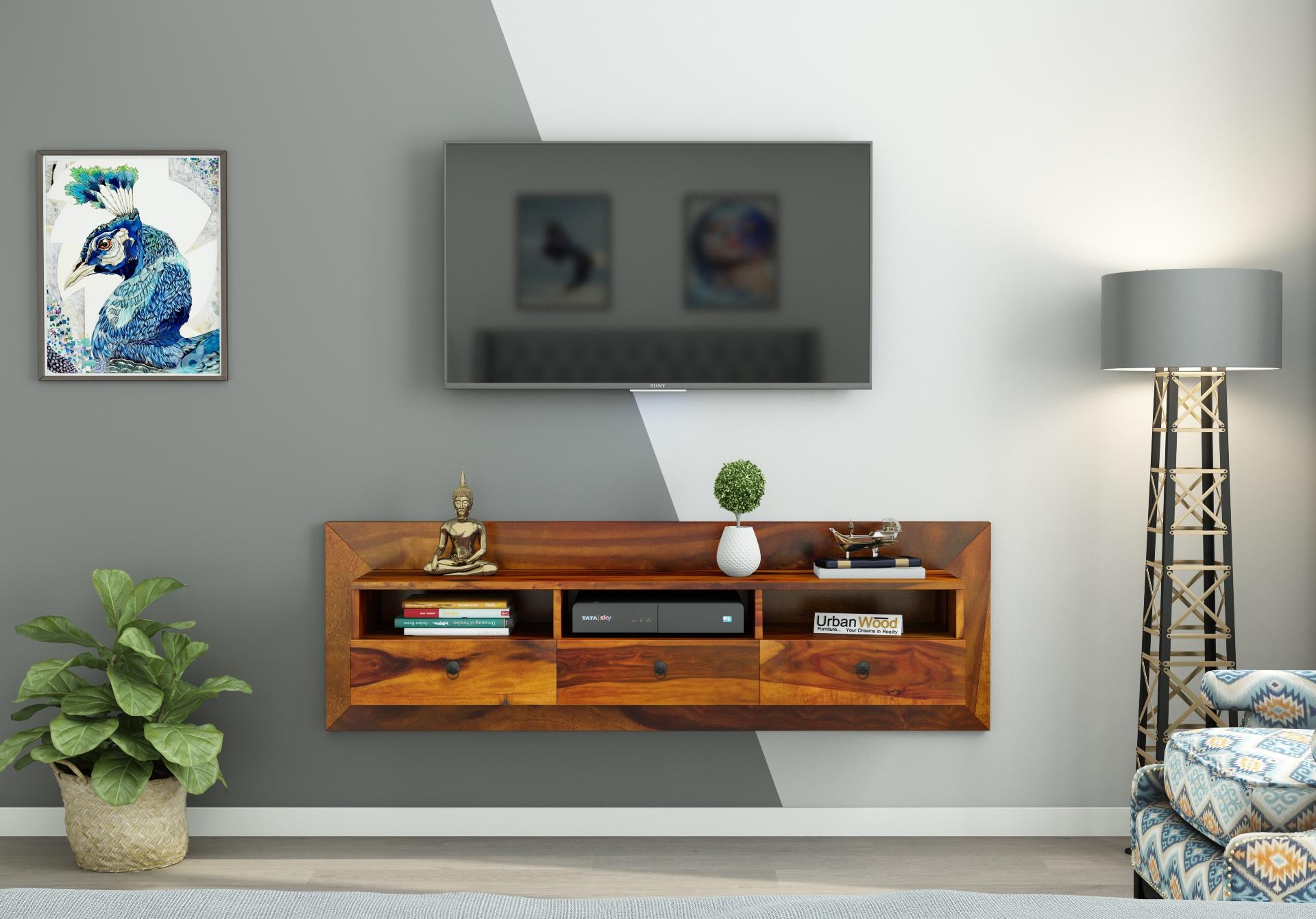 Graham Wooden Wall Mount TV Unit <small>(Honey Finish)</small>