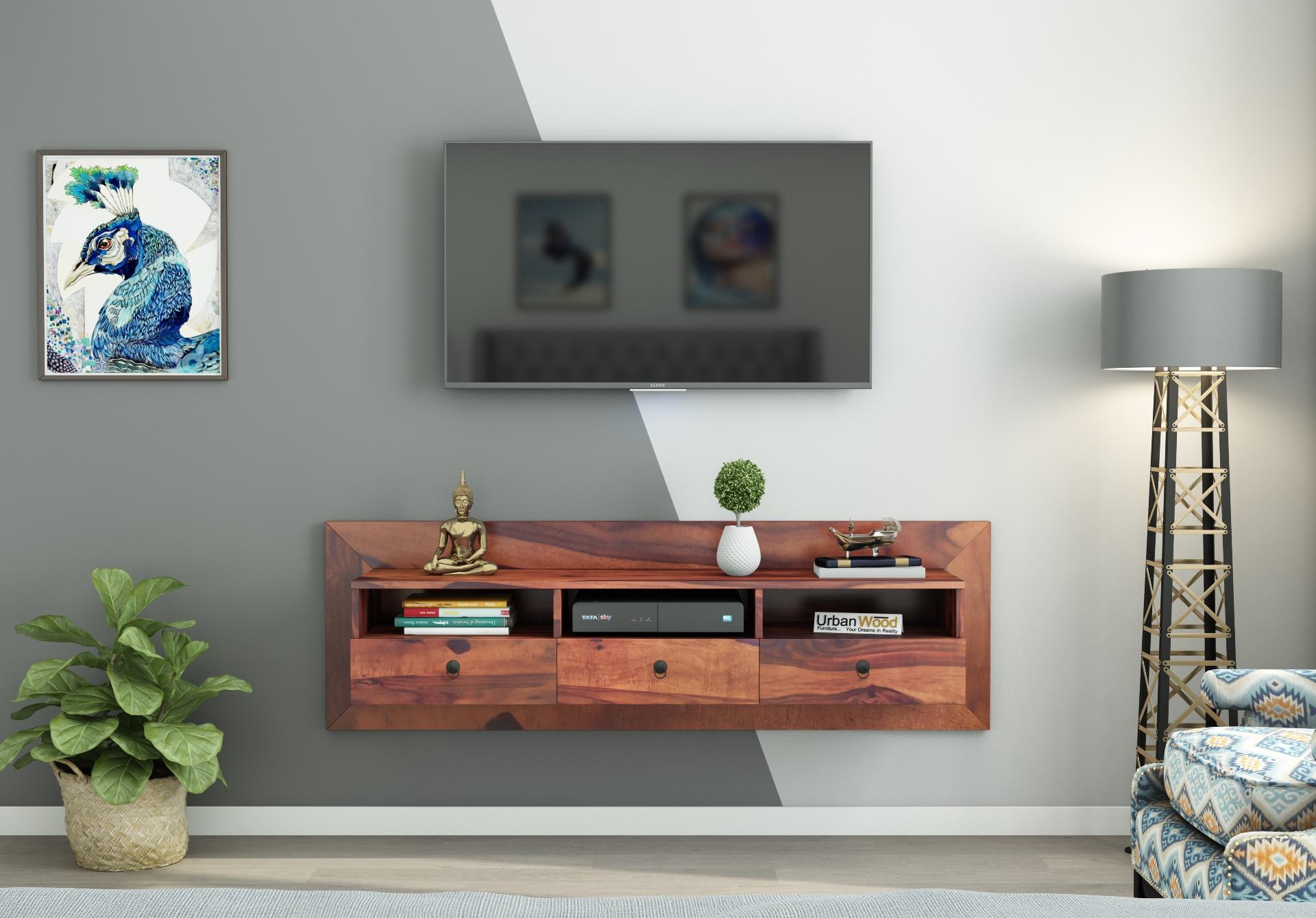 Graham Wooden Wall Mount TV Unit <small>(Teak Finish)</small>