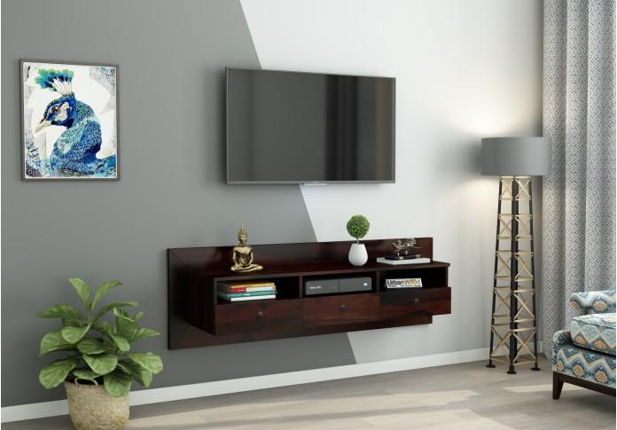 Graham Wooden Wall Mount TV Unit (Walnut Finish)