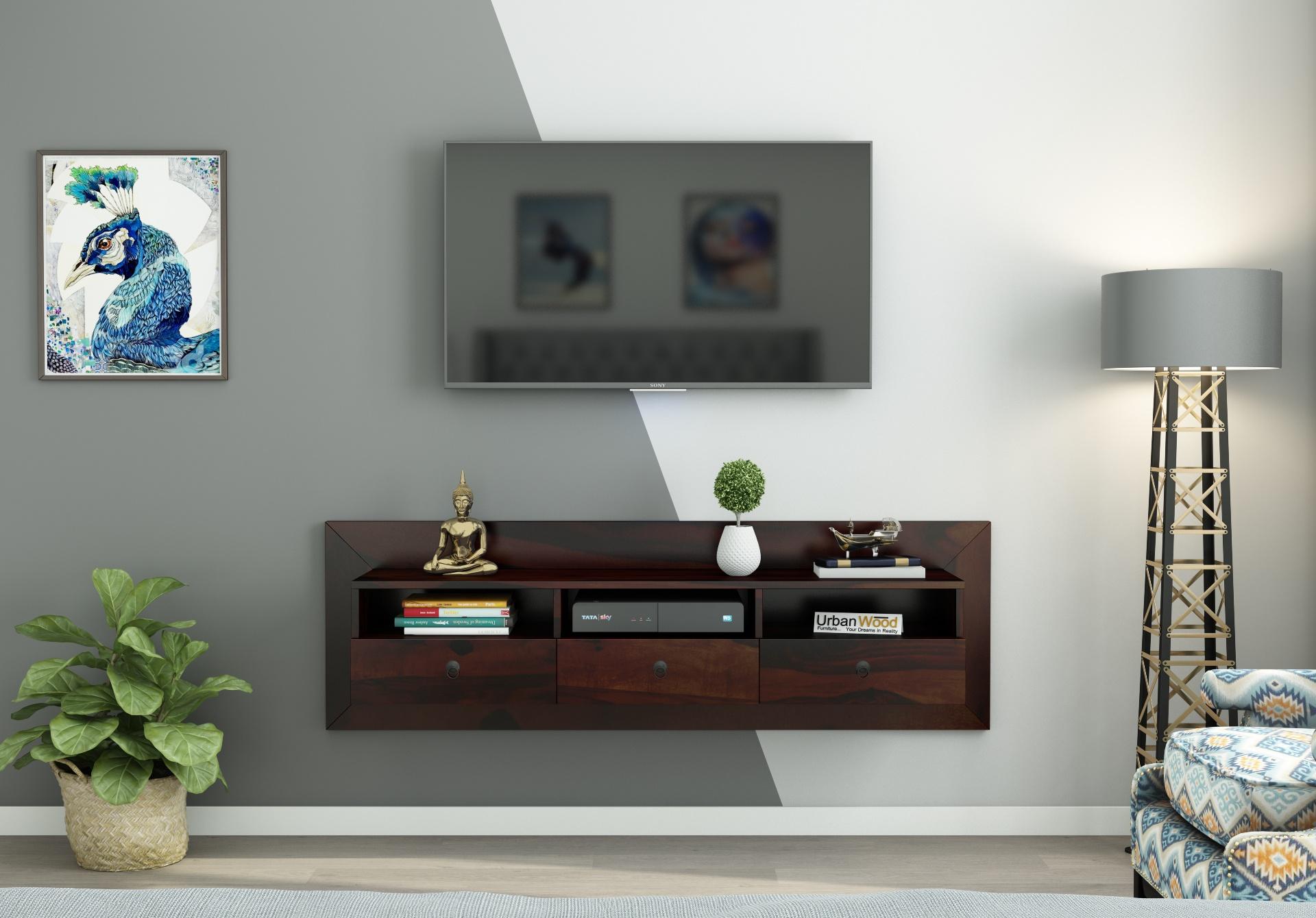 Graham Wooden Wall Mount TV Unit <small>(Walnut Finish)</small>
