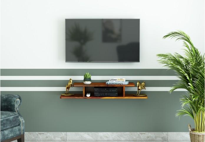 Talle Wooden Wall Mount TV Unit (Honey Finish)