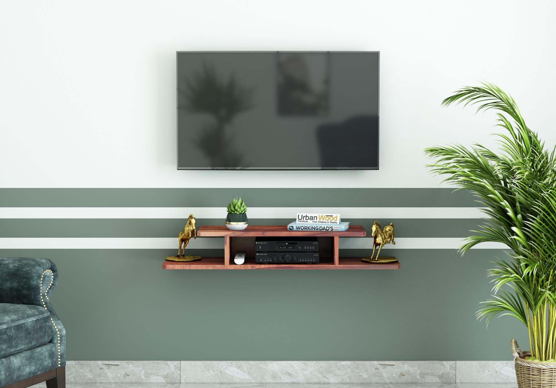 Talle Wooden Wall Mount TV Unit <small>(Teak Finish)</small>