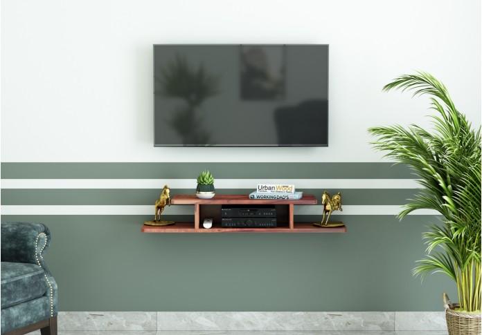 Talle Wooden Wall Mount TV Unit (Teak Finish)