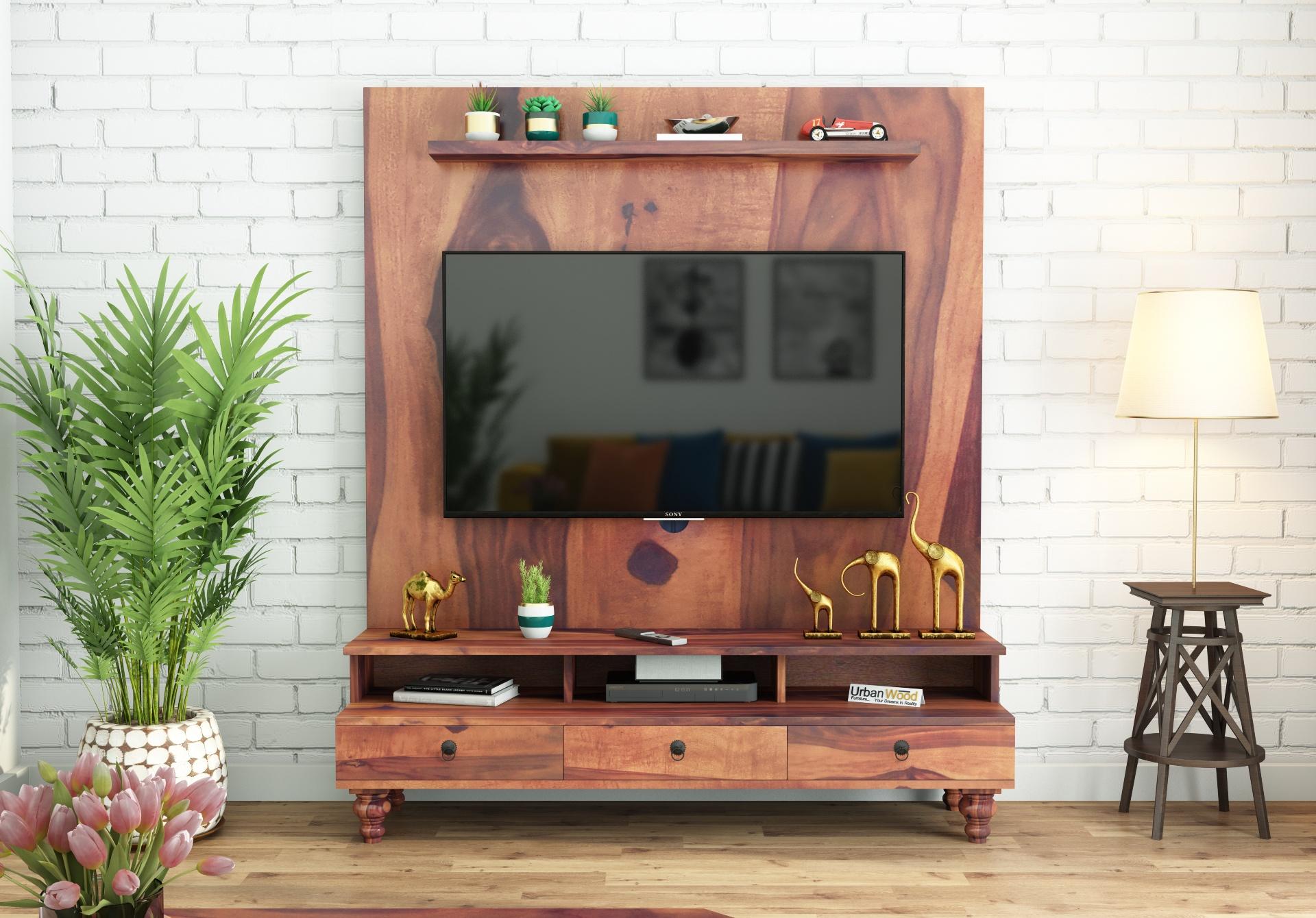 Brutt Wooden Entertainment Unit <small>(Teak Finish)</small>