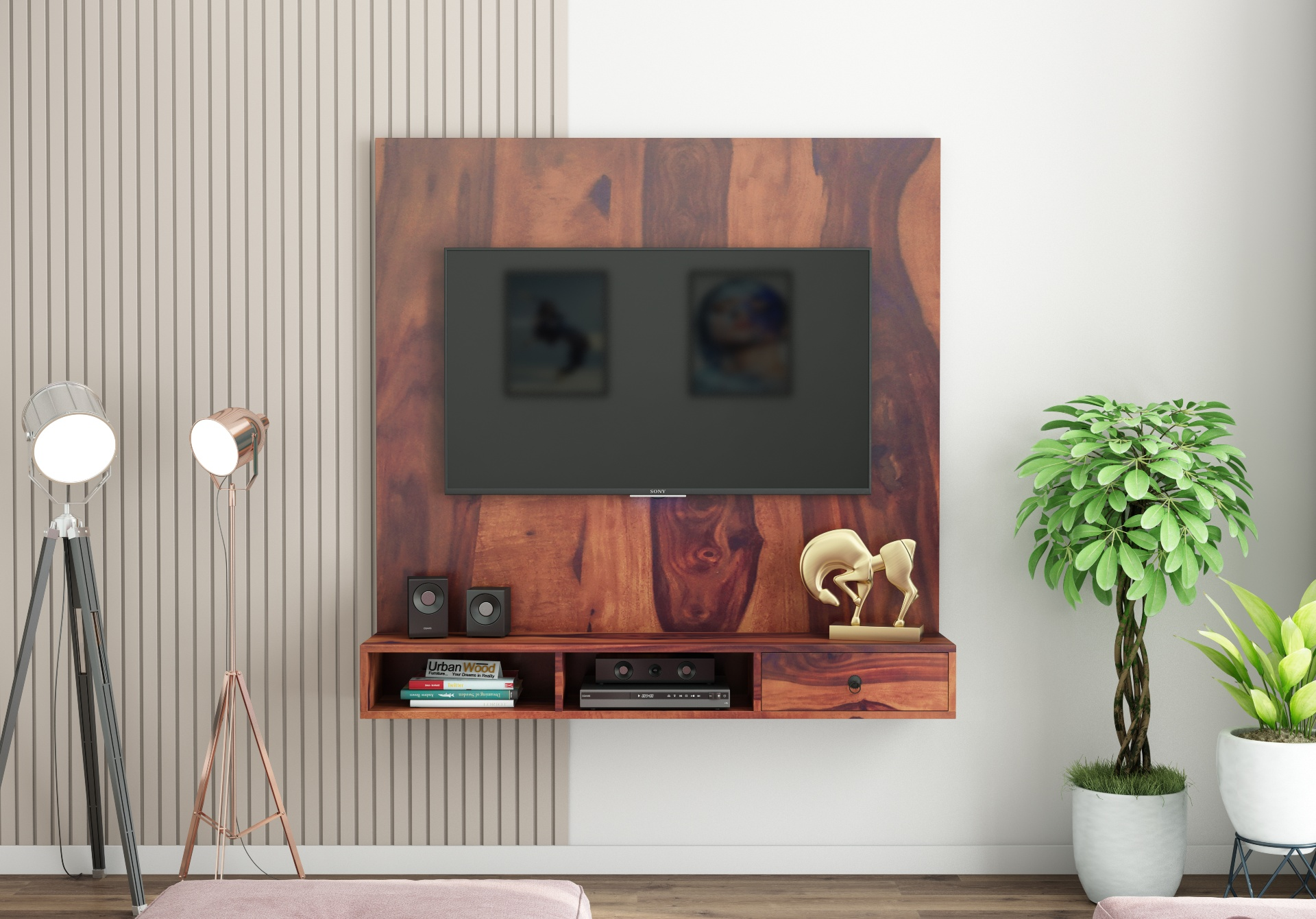 Ource Wooden Wall Mount TV Unit <small>(Teak Finish)</small>
