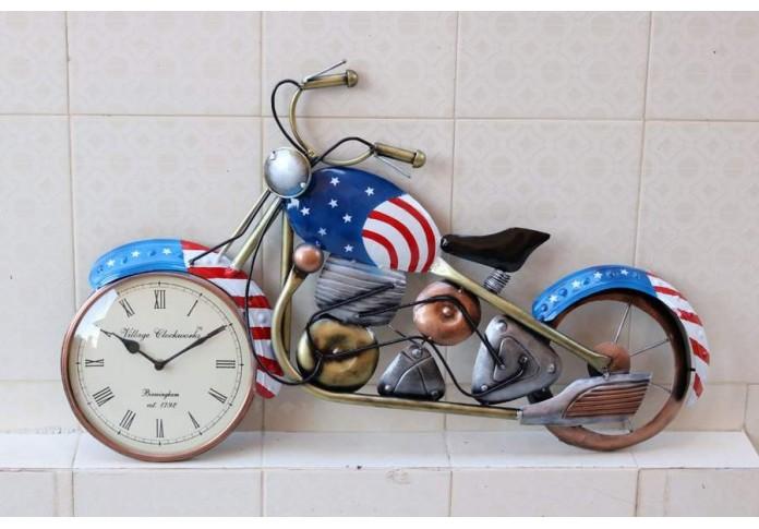 Metal blue Bike With Clock Wall Decor