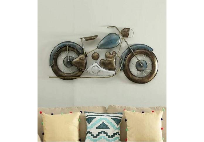 Metal Blue Bike wall Decor