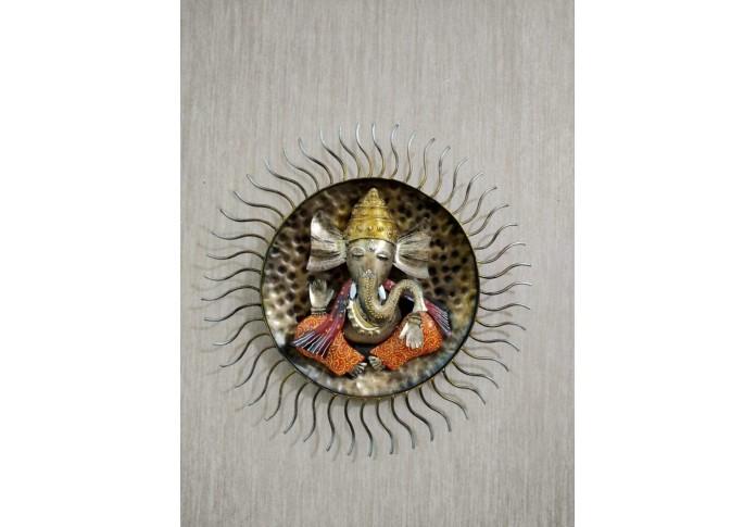 Metal Surya Ganesh Wall Decor