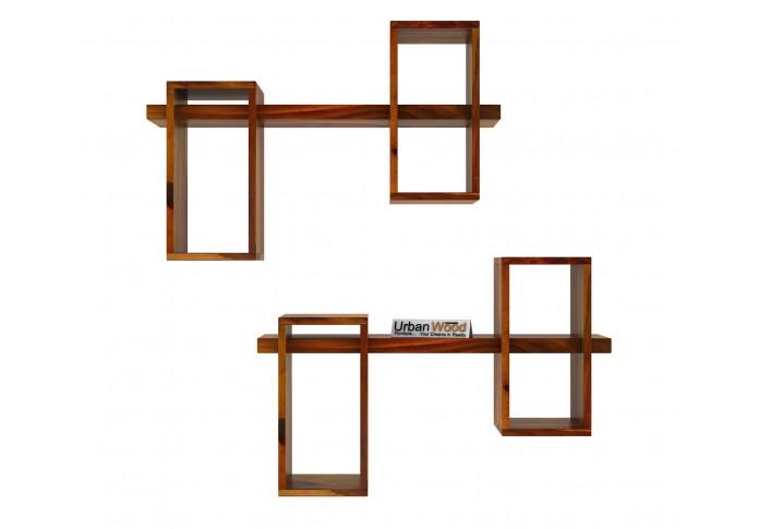Bea Wooden Wall Shelves (Honey Finish)