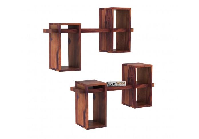 Bea Wooden Wall Shelves (Teak Finish)