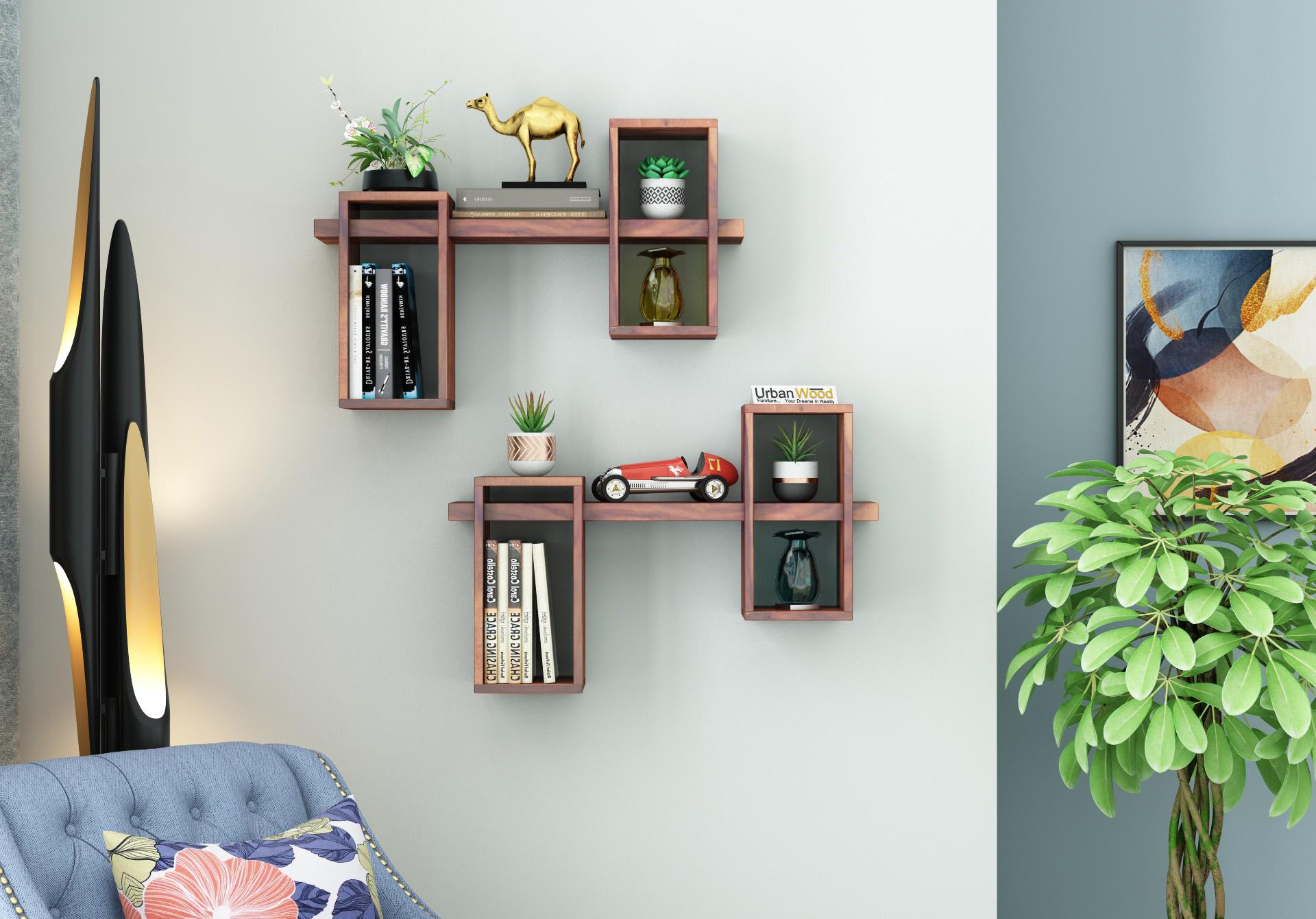 Bea Wooden Wall Shelves <small>(Teak Finish)</small>