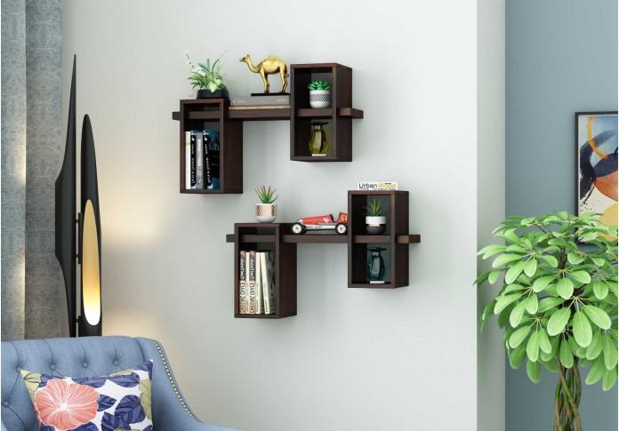 Bea Wooden Wall Shelves (Walnut Finish)