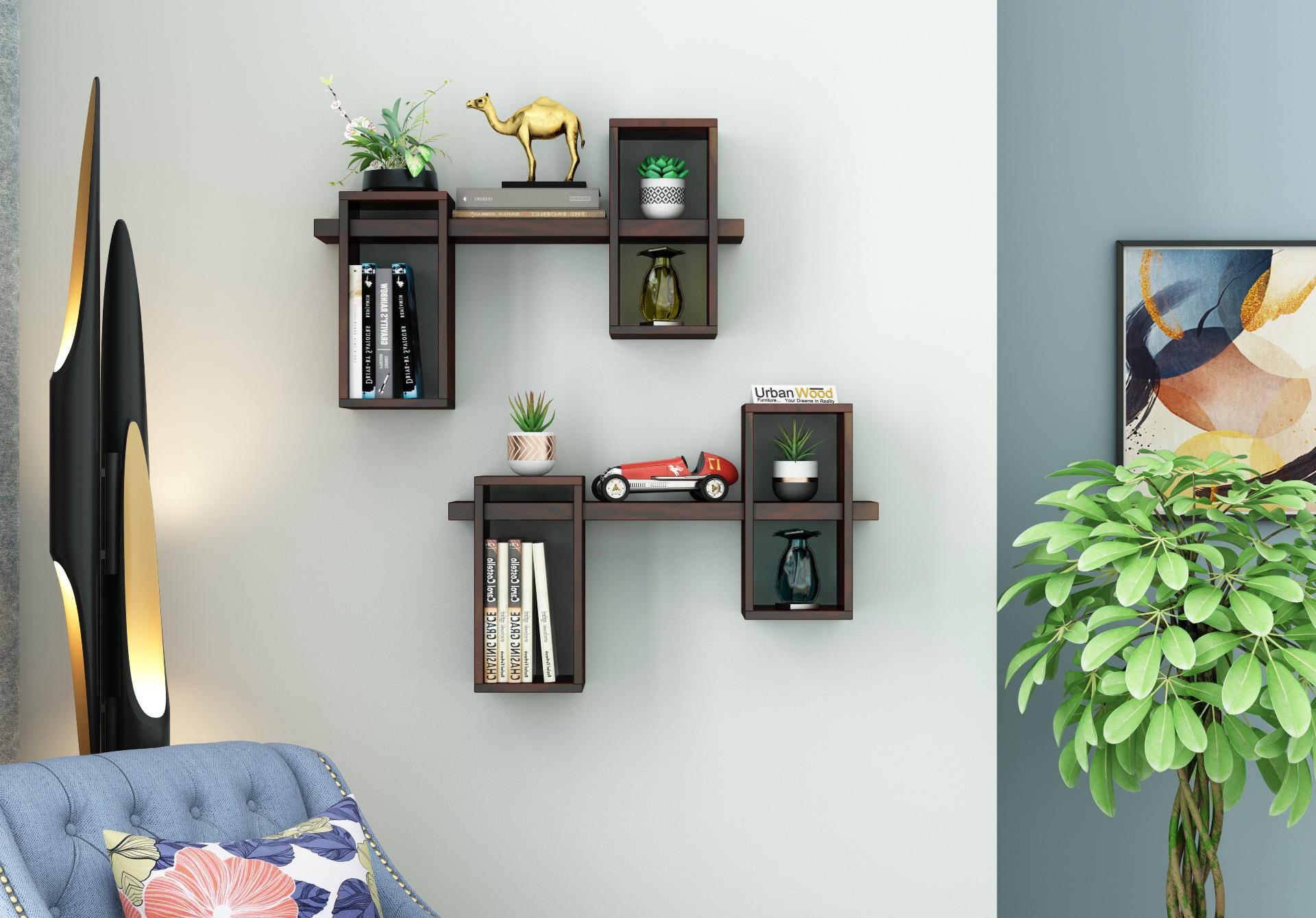 Bea Wooden Wall Shelves <small>(Walnut Finish)</small>