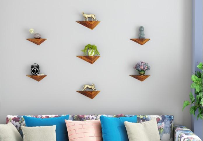 Elan Wooden Wall Shelves (Honey Finish)