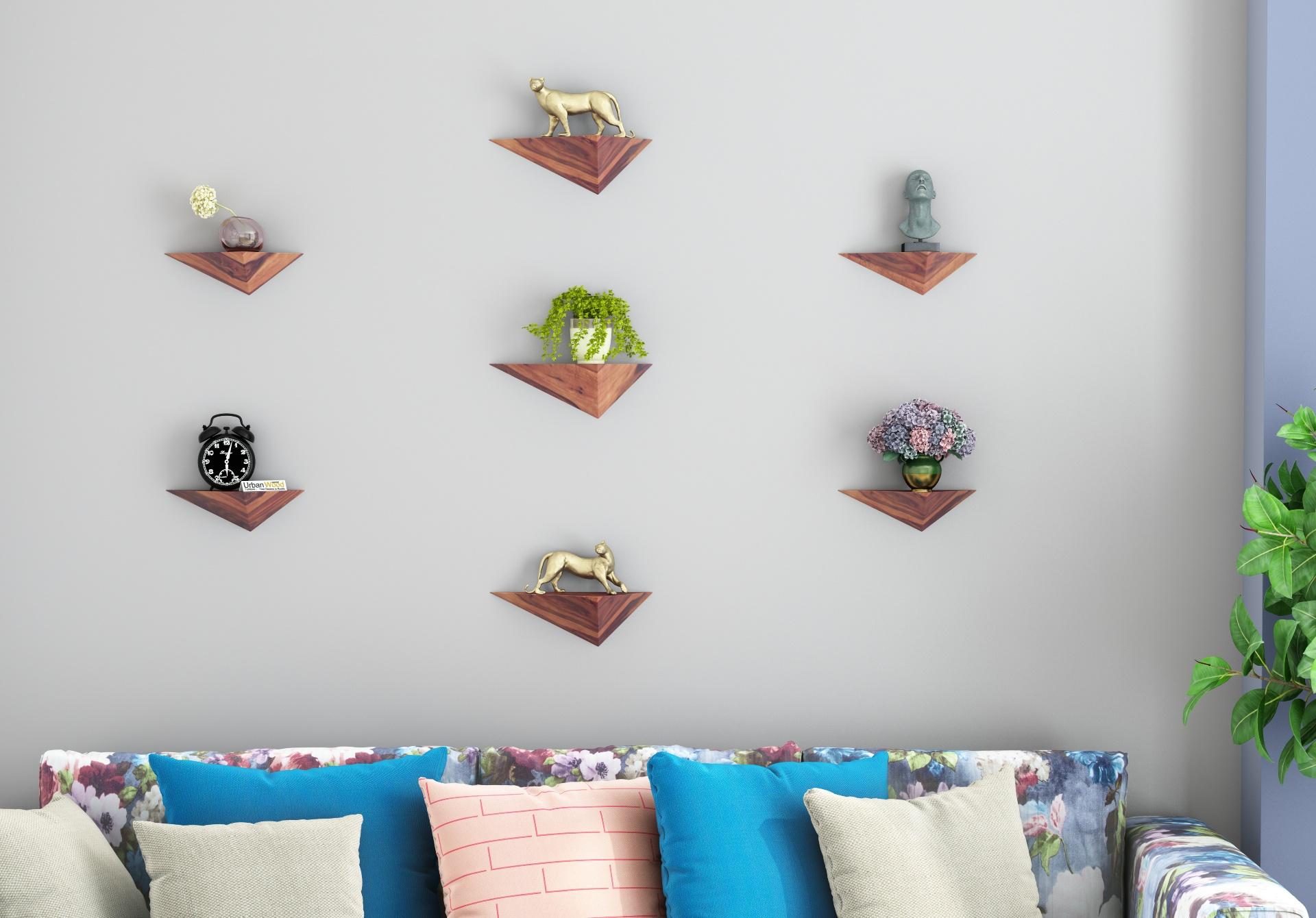 Elan Wooden Wall Shelves <small>(Teak Finish)</small>