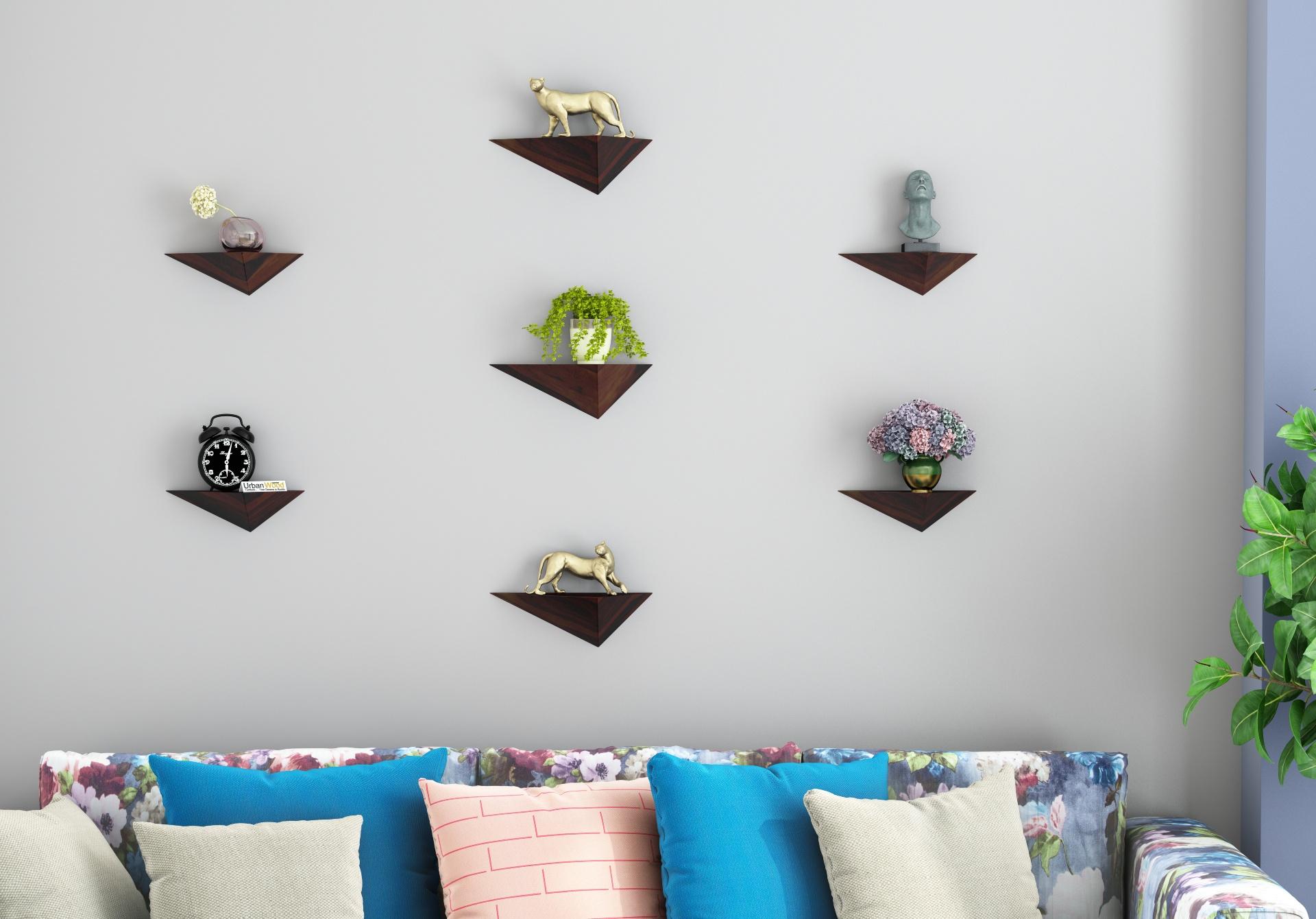 Elan Wooden Wall Shelves <small>(Walnut Finish)</small>