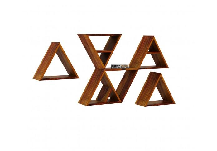 Jave Wooden Wall Shelves (Honey Finish)