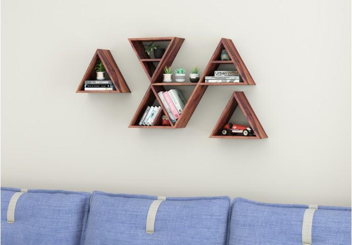 Jave Wooden Wall Shelves (Teak Finish)