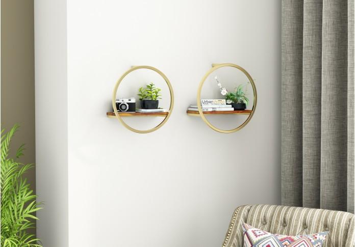 Kaya Wooden Wall Shelves (Honey Finish)
