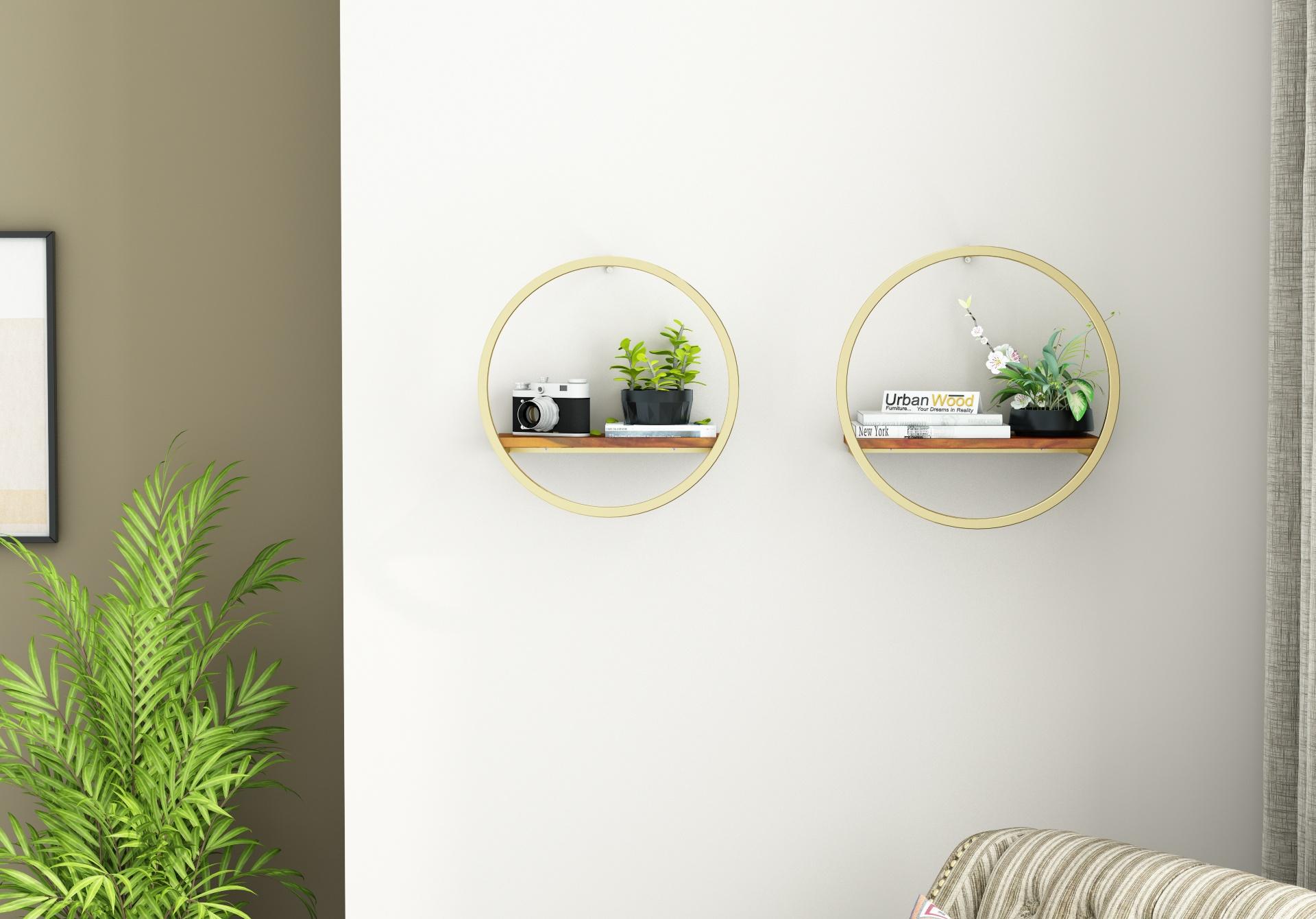 Kaya Wooden Wall Shelves <small>(Honey Finish)</small>