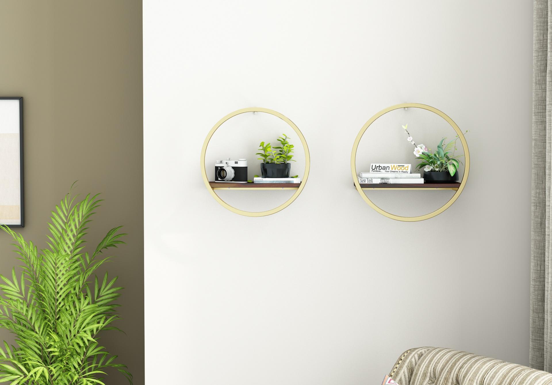 Kaya Wooden Wall Shelves <small>(Walnut Finish)</small>