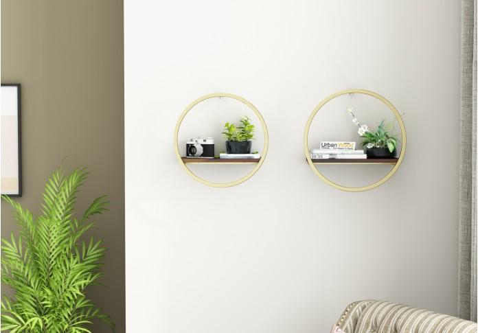 Kaya Wooden Wall Shelves (Walnut Finish)