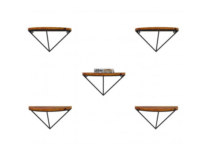 Mebel Wooden Wall Shelves (Honey Finish)