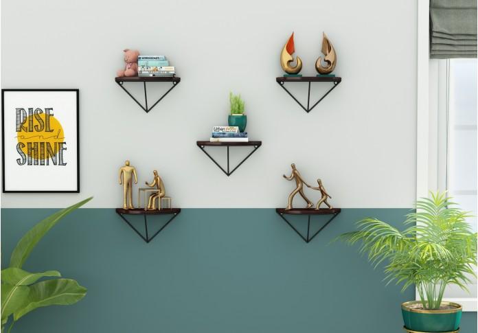 Mebel Wooden Wall Shelves (Walnut Finish)