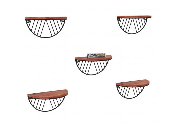 Mia Wooden Wall Shelves (Teak Finish)