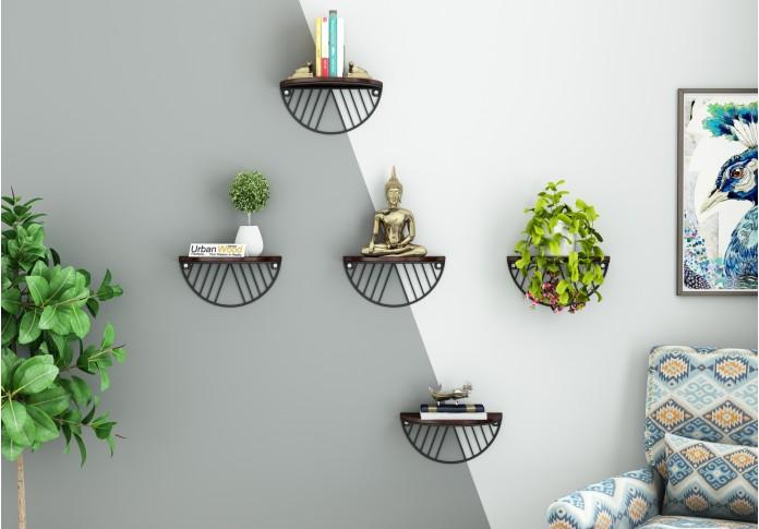 Mia Wooden Wall Shelves (Walnut Finish)