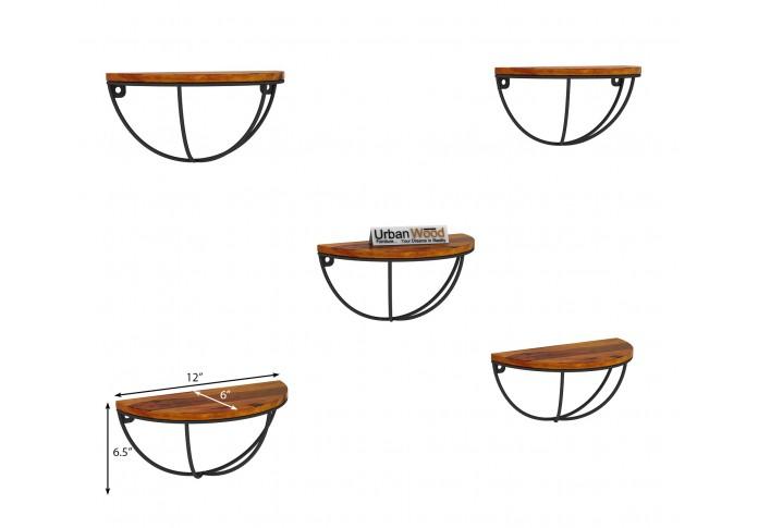 Mika Wooden Wall Shelves (Honey Finish)